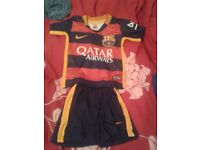 New Sealed Kids Messi Barcelona football shirt with shorts
