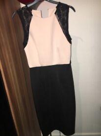 rose pink and black dress