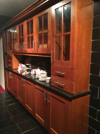 beautiful modern solid wood cherry kitchen with black granite worktops!!