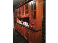 beautiful modern solid wood cherry kitchen with black granite worktops!!