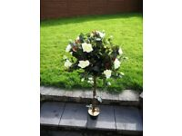 Artificial White Rose & Buds 4 Feet(120cm) Tree Beautiful Decoration Wedding/Home Pair of 2