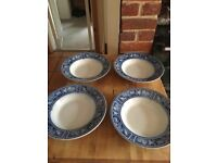 Victorian Blue and White China Soup Plates Brampton