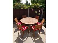 Solid wood outdoor table and chair set