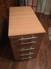 5 Drawer Office Cabinet in Light Oak Veneer Finish