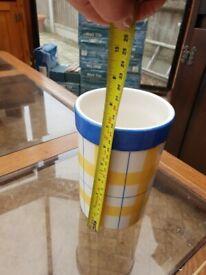 Yellow and Blue Vase/Utensil Holder