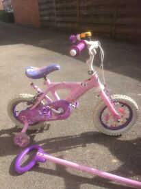 Girl's ballerina bike with parent steering handle (removable)