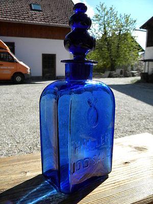 c1900 HALLER JODSALZ FLASCHE Kobalt Glas kobaltblau Bad Hall in Tirol Apotheker