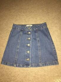 Teens Denim Button Up Skirt