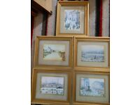 LS Lowry Prints x 5 Gold Frames with Mounts