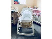 Moses basket with mattress, stand and linen