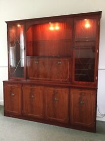 Beresford & Hicks mahogany illuminated display wall unit