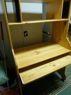 PINE STUDY DESK TOWER ON CASTORS - GREAT CONDITION