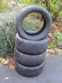 YOKOHAMA TYRES (THREE) A048 ROAD COMPETITION. 1 x 195/50x15. 2x 205/50x15. ALL GOOD AND USEABLE