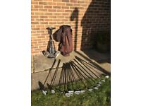 Golf clubs, bag and pull trolly