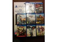 Ps4 1tb with 8 games