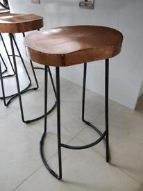 4 x solid wood with copper leaf cover ball stools