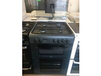 INDESIT 60CM ALL GAS COOKER IN GREY WITH LID
