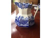 Large milk/water Italian Blue Spode jug Copeland