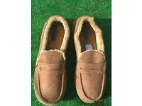 Mens Jo & Joe Faux Suede Tweed Tartan Faux Fur Lined Moccasin Slippers Shoes size small 9