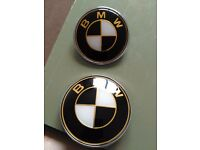 Black and white with gold outline bmw bonnet and boot badges