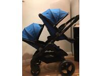 Icandy peach 3 double stroller pram cobalt blue black I candy buggy