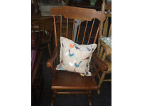 Endearing Vintage Traditional Solid Pine Farmhouse Stick-Back Rocking Chair