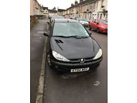 Peugeot 206. MOT November 2017. Black 3 door. 2004. £550