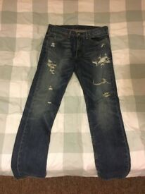 Levi 511 Ripped/Distressed Jeans - 34W 34L - Slim Fit - Medium/Light Wash Excellent Condition - £20