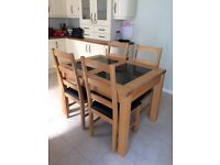 Solid oak and black granite table & 6 chairs