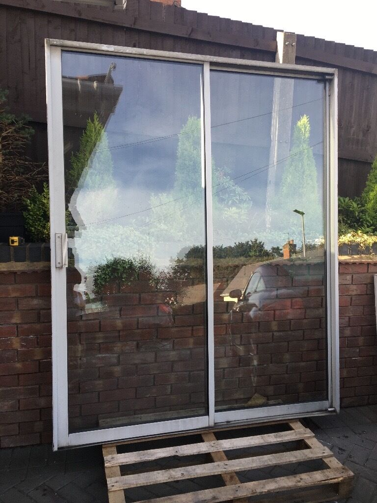 Aluminium Patio Sliding Door Silver Used Work Shop Shed Garden In