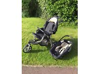 Jane slalom pro travel system contains Slalom pushchair and car seat/carry-cot
