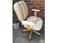 Home office adjustable desk chair natural/cream