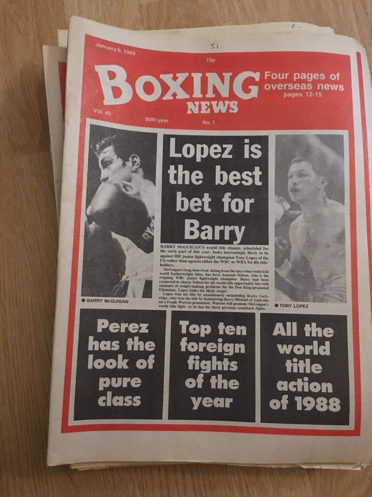 Boxing magazines and collectibles