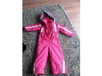 Girls pink snow suit skiing age 2-3