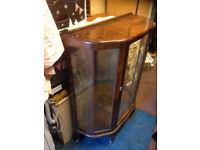 antique display cabinet mirrrored inside for home shop double door