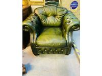 Fabulous quality and condition Oxford green real leather deep button chesterfield club armchair