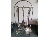 Stainless Steel Rostfrei Inox 6 kitchen utensils on hanger