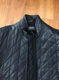 Reiss black leather padded racing jacket Medium