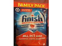 NEW UNOPENED FINISH DISHWASHER TABLETS 80 tabs FAMILY PACK