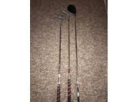 Dunlop 3 wood, putter and 60 degree wedge. Grips in nearly new condition.