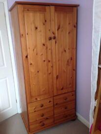 Pine wardrobe with 6 drawers