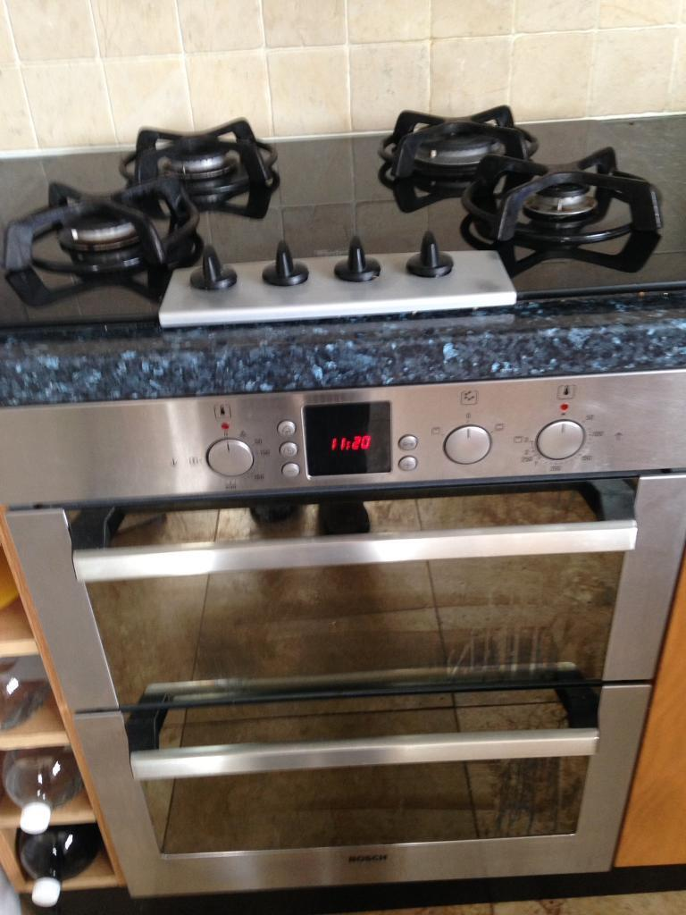 Bosch electric double oven with whirlpool gas hob