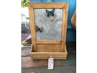 GIFTWARE CLEARANCE:Decorative tin & wood magnetic memo board with shelf. SPECIAL BUY FOR 4 OR MORE!