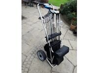 Golf Trolley and clubs