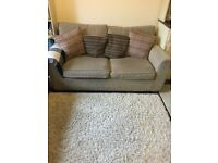 Next Sofabed sofa in brown with cushions & throw