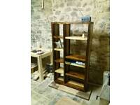 Handmade wooden bookcase chocolate and caramel stain