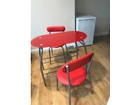Breakfast dining table with chairs for two