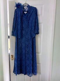 Nearly new dress,jacket, fascinator, size 16