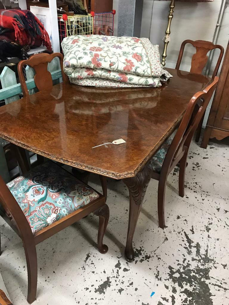 Burl walnut table and 4 chairs