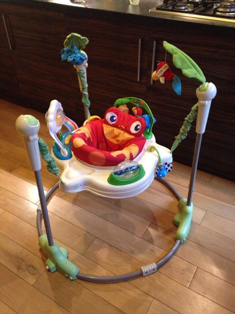 Fisher price jumperoo rainforest for sale in west end for Door jumperoo
